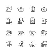 Tea related vector icon set in thin line style