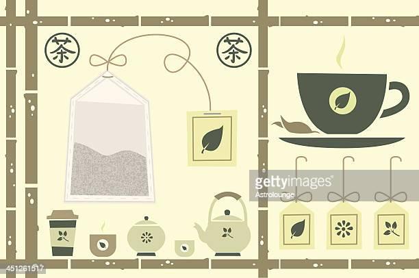 tea theme - green tea stock illustrations, clip art, cartoons, & icons