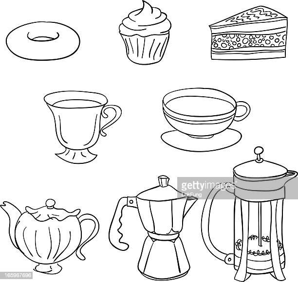 Tea time cakes and beverage
