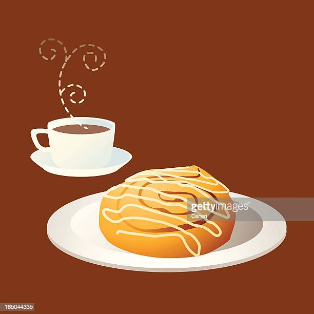 tea time: coffee and cinnamon bun - sweet bun stock illustrations, clip art, cartoons, & icons