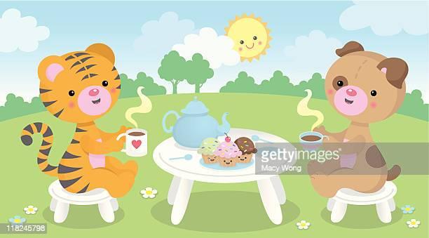 ilustrações de stock, clip art, desenhos animados e ícones de tempo do chá fofo kawaii animais - kawaii