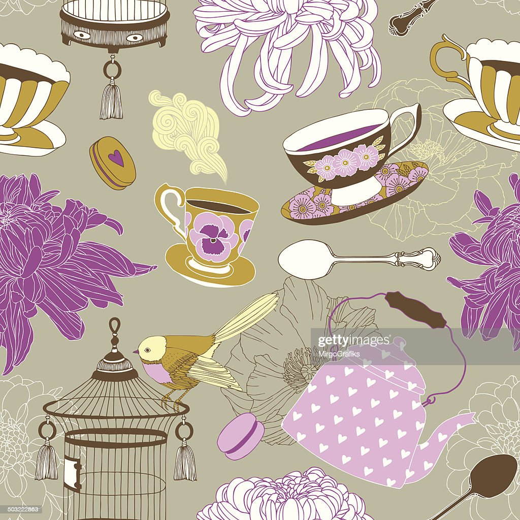 Tea time seamless vector pattern