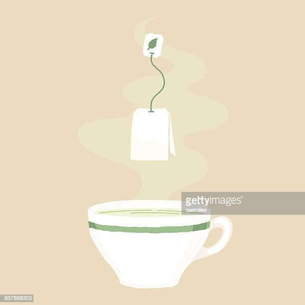 tea time - green tea stock illustrations, clip art, cartoons, & icons