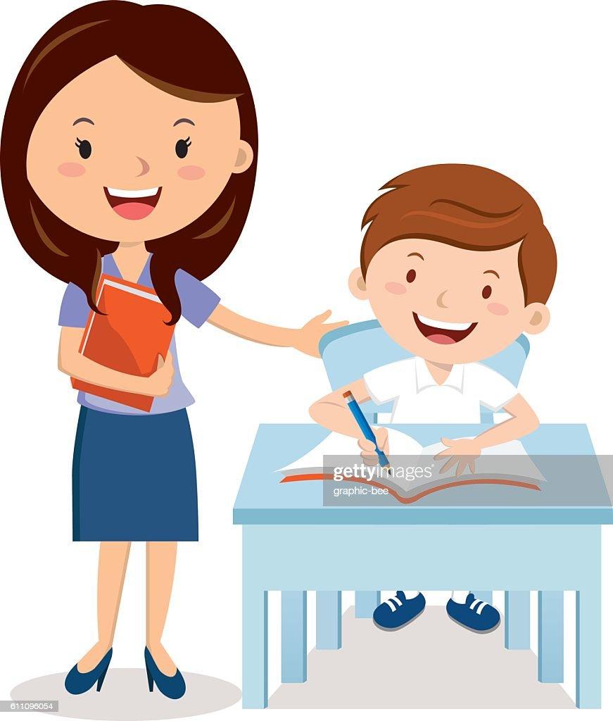 Teacher and school boy
