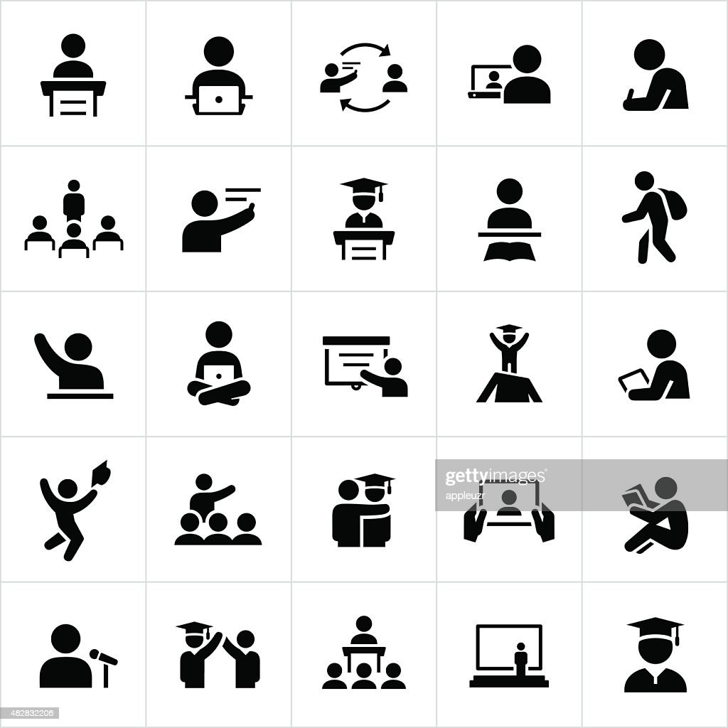 Teacher and Student Education Icons : stock illustration