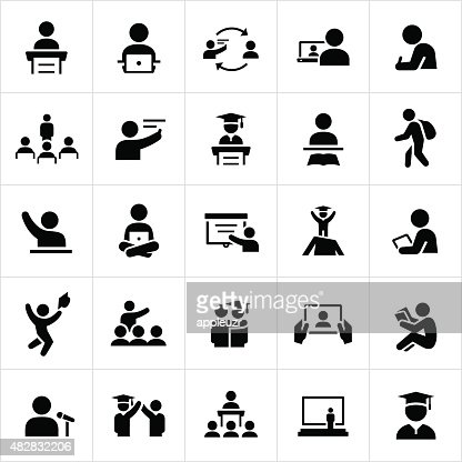 Teacher And Student Education Icons Vector Art | Getty Images