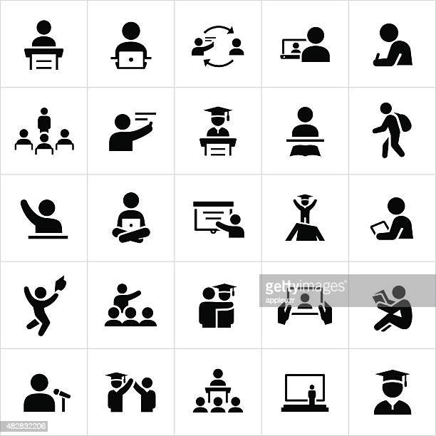 teacher and student education icons - instructor stock illustrations