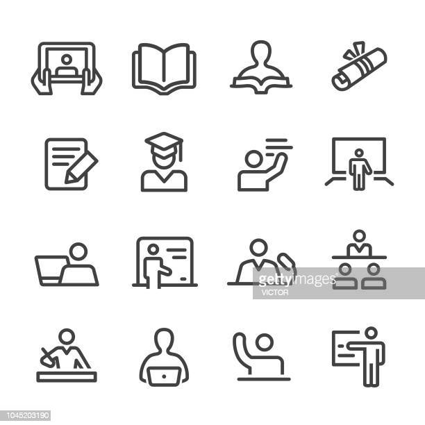 teacher and student icons - line series - book stock illustrations