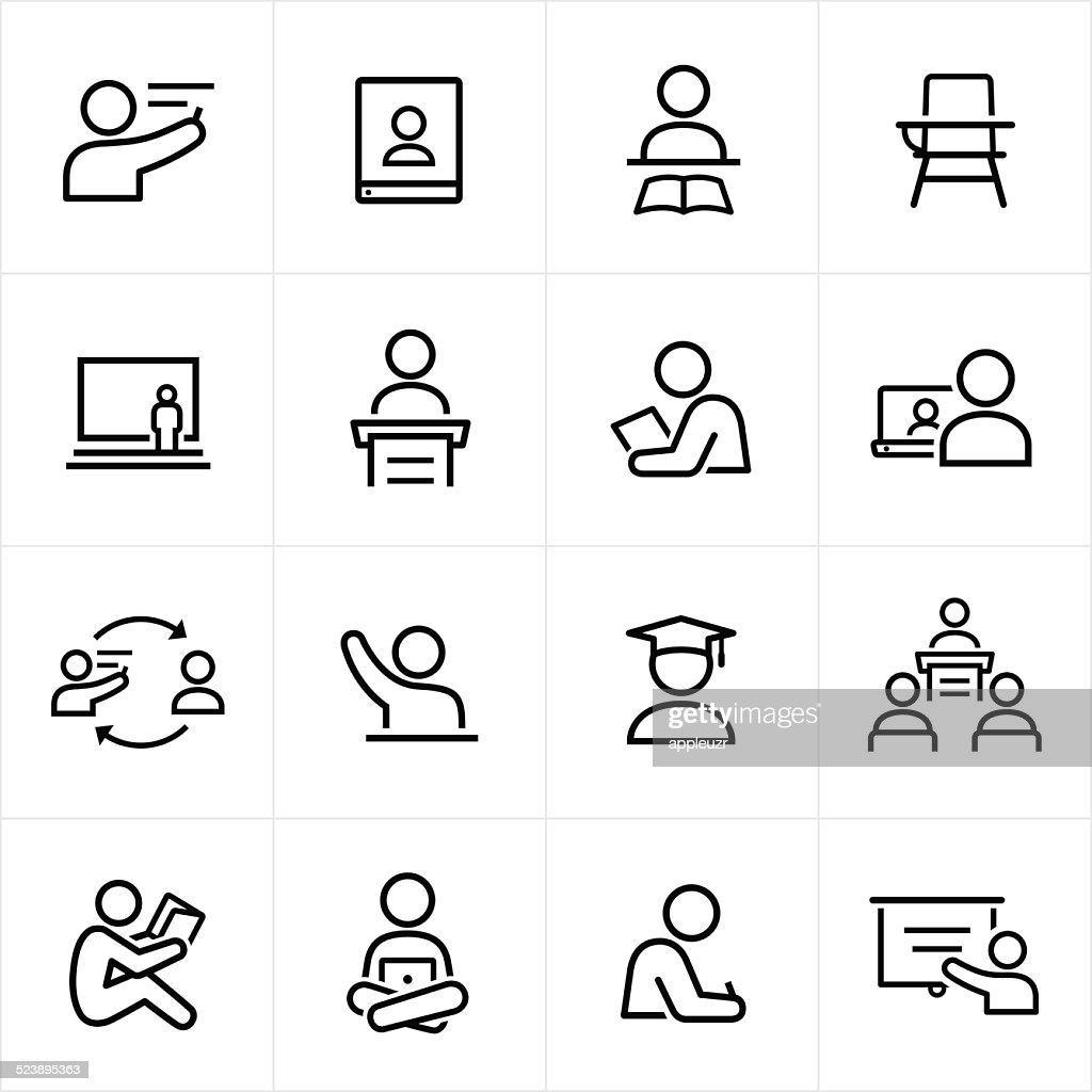 Teacher and Student Icons - Line Style : stock illustration