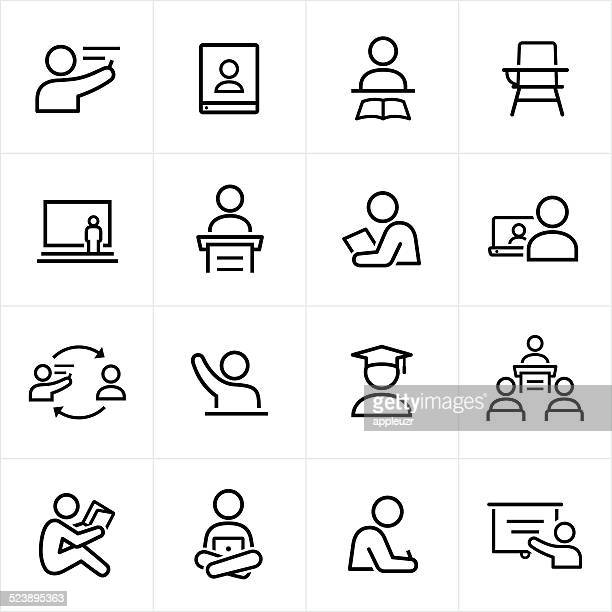teacher and student icons - line style - showing stock illustrations