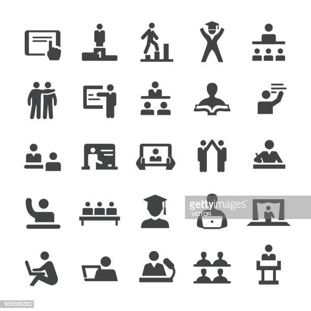 teacher and student icons - smart series - students stock illustrations, clip art, cartoons, & icons