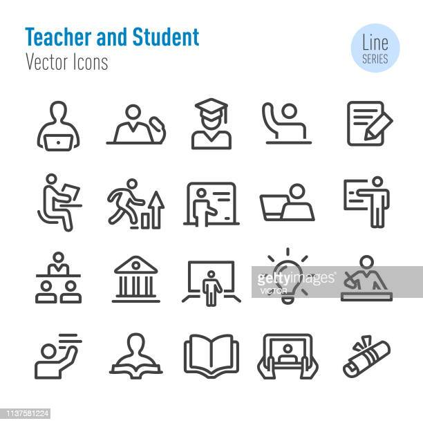 teacher and student icons - vector line series - instructor stock illustrations
