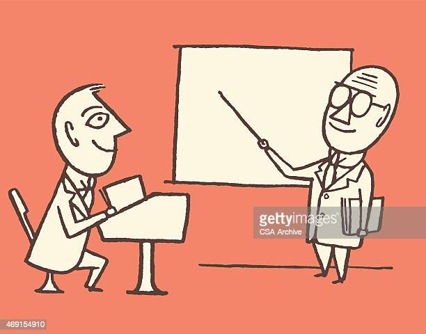 teacher and student - professor stock illustrations, clip art, cartoons, & icons
