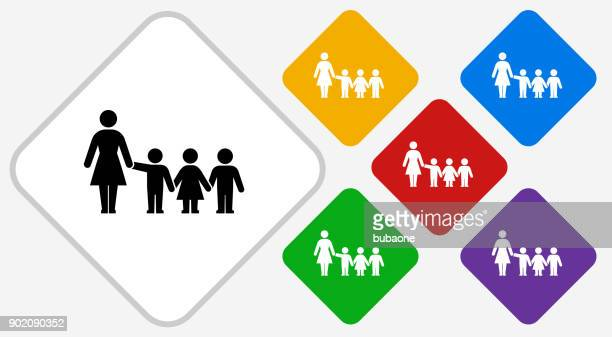 teacher and students color diamond vector icon - child care stock illustrations