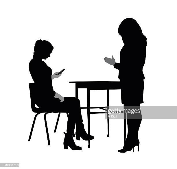 teacher and texting student - ignoring stock illustrations, clip art, cartoons, & icons
