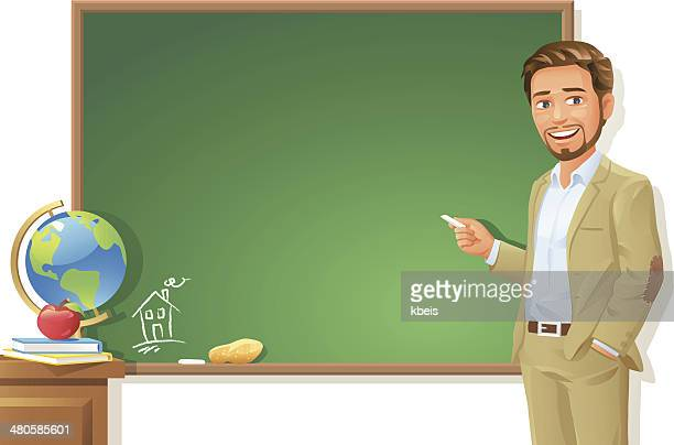 teacher at blackboard - instructor stock illustrations