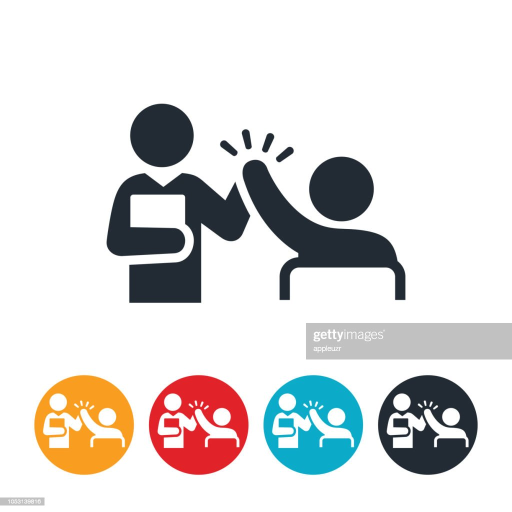 Teacher Giving Student High-Five Icon : Stock Illustration