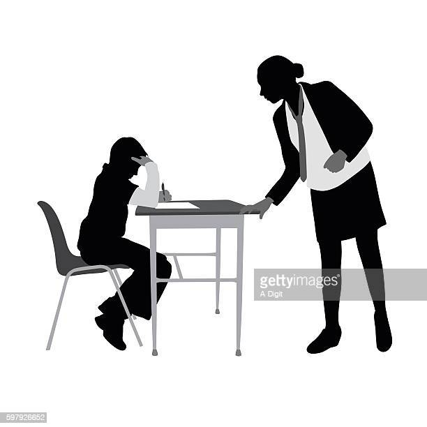Teacher Helping Student Work Silhouette Vector