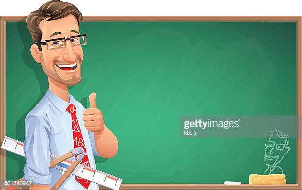 teacher in front of blackboard - instructor stock illustrations