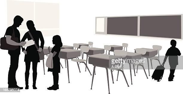 Teacher Parent Vector Silhouette