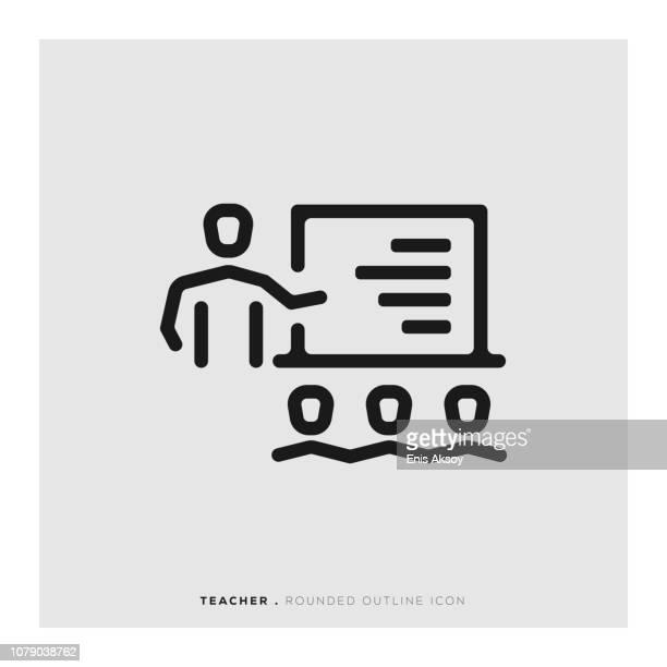 Icône de ligne arrondie enseignant