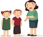 Teacher, sudent, mother, children illustration.