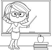Teacher teaching at class coloring book page.