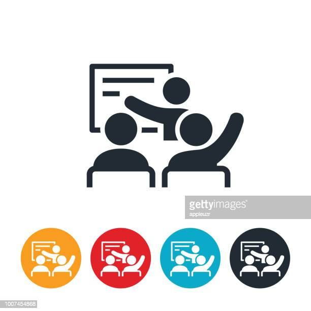 teacher with students icon - instructor stock illustrations