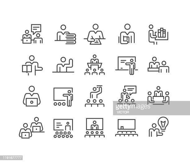 teachers and instructors icons - classic line series - auditorium stock illustrations