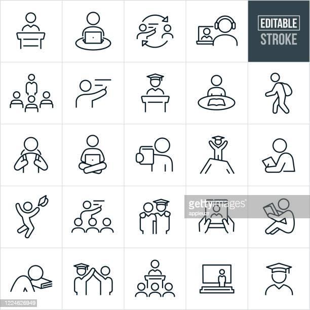 教師と生徒の細い線アイコン - 編集可能なストローク - 試験点のイラスト素材/クリップアート素材/マンガ素材/アイコン素材