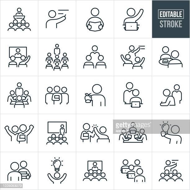 lehrer und schüler dünne linie icons - editierbare strich - schulische prüfung stock-grafiken, -clipart, -cartoons und -symbole