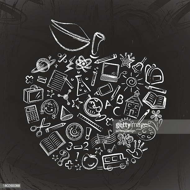 teacher's apple - chalk art equipment stock illustrations, clip art, cartoons, & icons