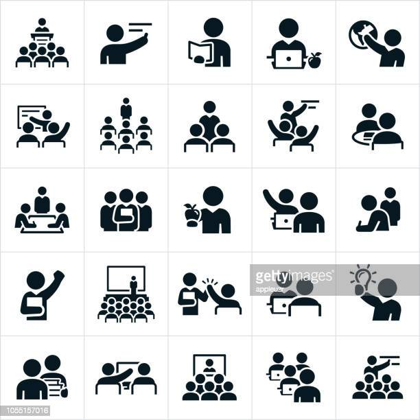teachers, professors and instructors icons - person in education stock illustrations