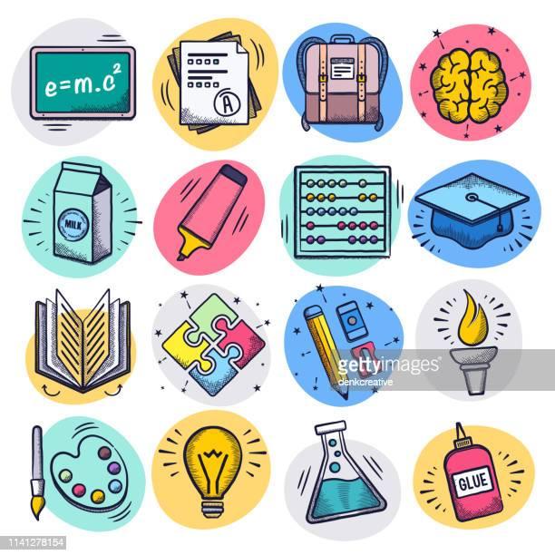 lehren und lernen online liquid doodle style vector icon set - klassenzimmer stock-grafiken, -clipart, -cartoons und -symbole