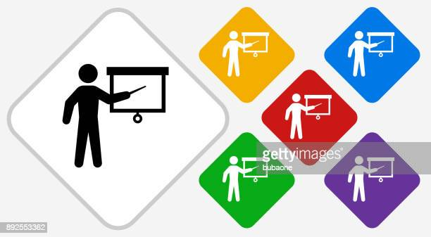 Teaching Man Color Diamond Vector Icon