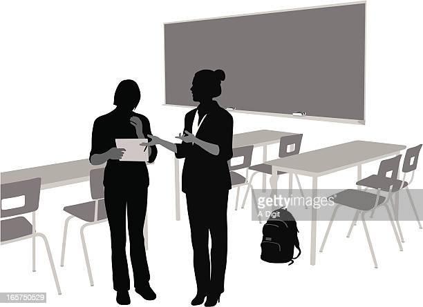 teaching vector silhouette - explaining stock illustrations