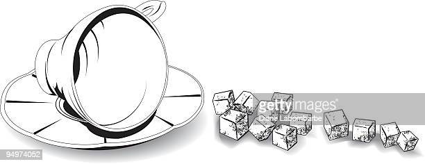 teacup and sugar cubes - sugar cube stock illustrations, clip art, cartoons, & icons