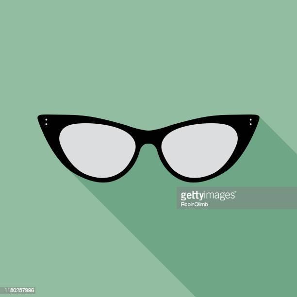 teal eyeglasses icon 1 - cat's eye glasses stock illustrations