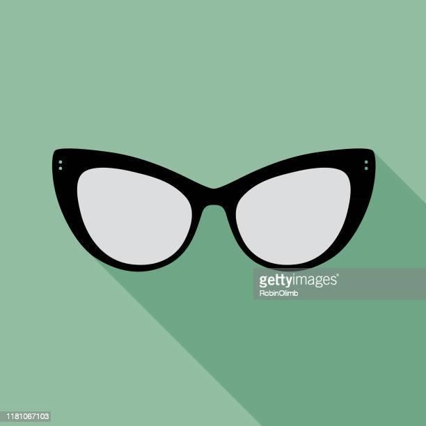 teal eyeglasses icon 5 - cat's eye glasses stock illustrations