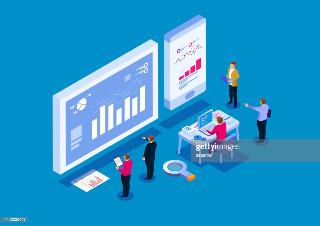 Teamanalyse von Geschäftsberichten, visuelle Datenanalyse : Stock-Illustration