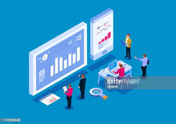 illustrazioni stock, clip art, cartoni animati e icone di tendenza di team analysis of business reports, visual data analysis - big data