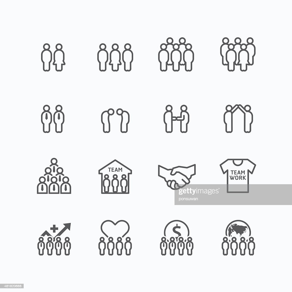 team and business silhouette icons flat line design vector set.