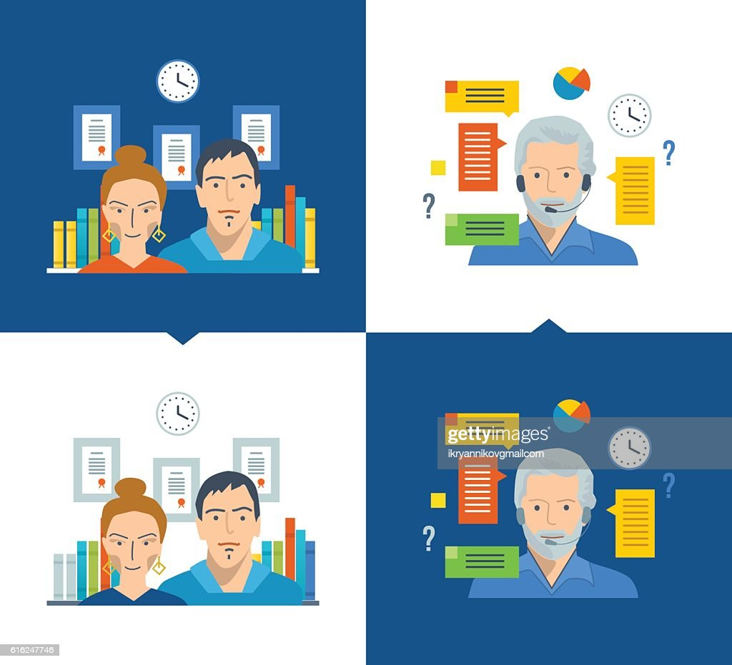 Team and teamwork, working place, online training, technical support . : Vector Art