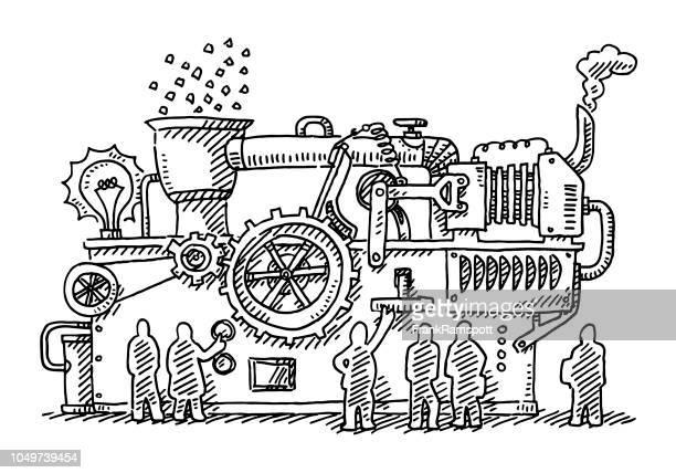 Team im großen Maschine zeichnen