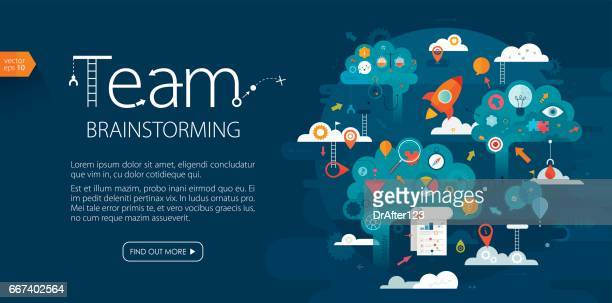 team brainstorming web banner dark blue background - new business stock illustrations
