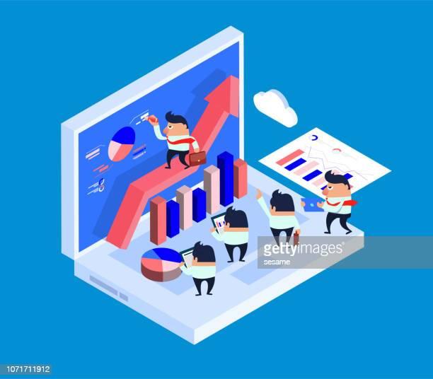 team business development - big data isometric stock illustrations