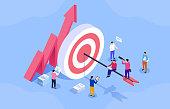 Team business goals, active employees, social media marketing