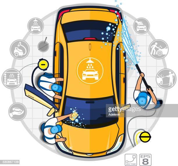 Équipe de lavage de voiture