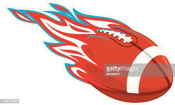 ilustraciones, imágenes clip art, dibujos animados e iconos de stock de color del equipo de fútbol americano de flaming - llamas de fuego