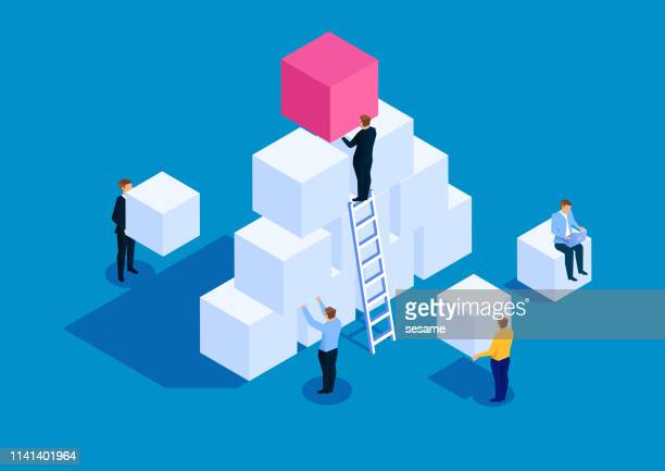 team development business concept - bloco stock illustrations